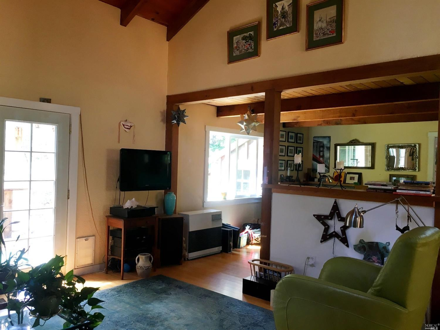 Open beams in a home for sale on Guntly Road in Philo, CA.