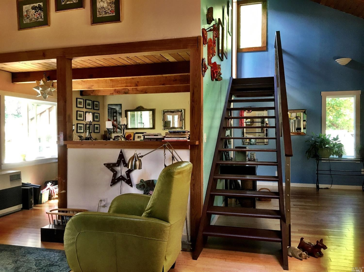Handcrafted staircase in a home for sale on Guntly Road in Philo, CA.