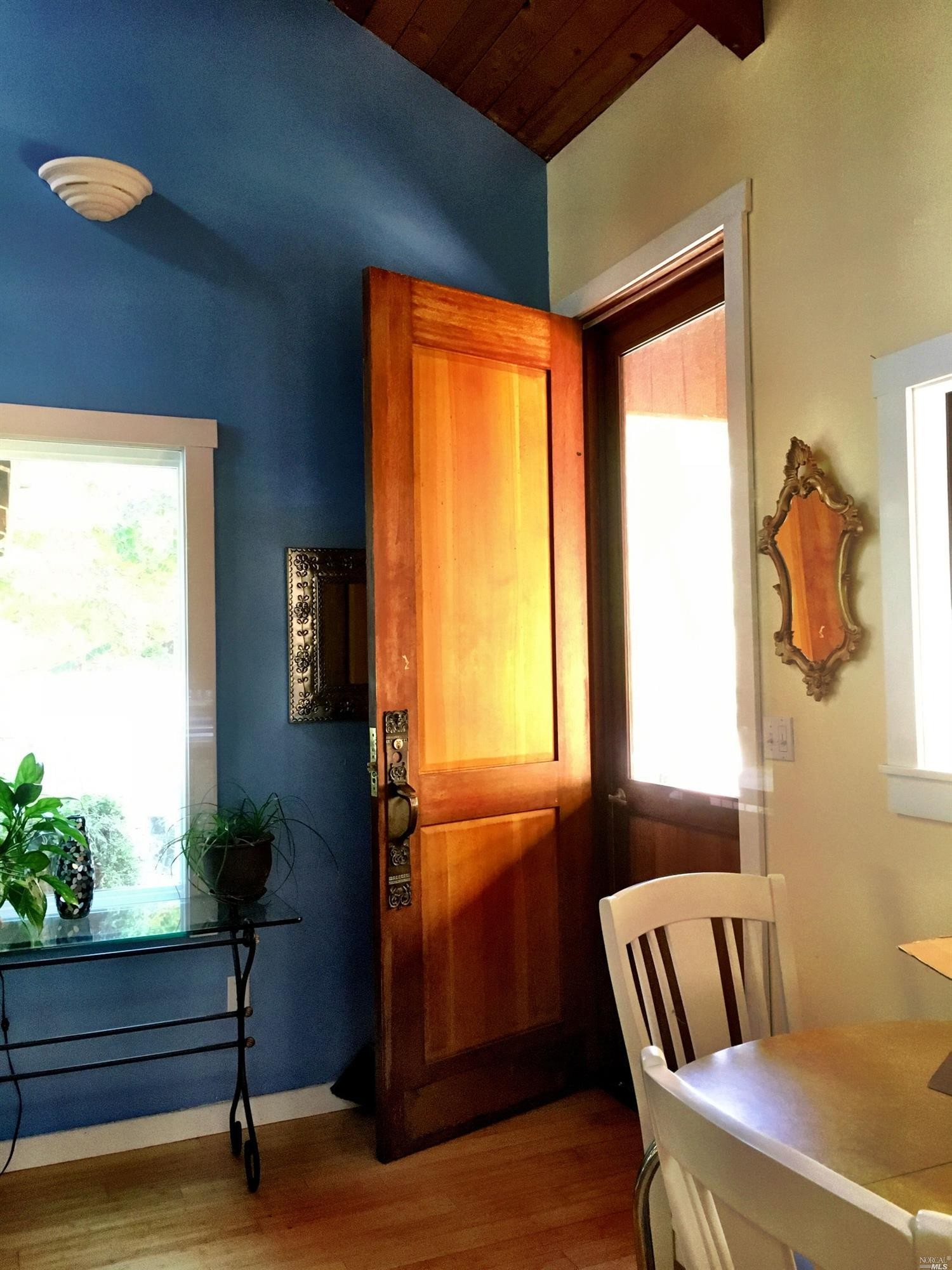 Handcrafted door on a home for sale on Guntly Road in Philo, CA.