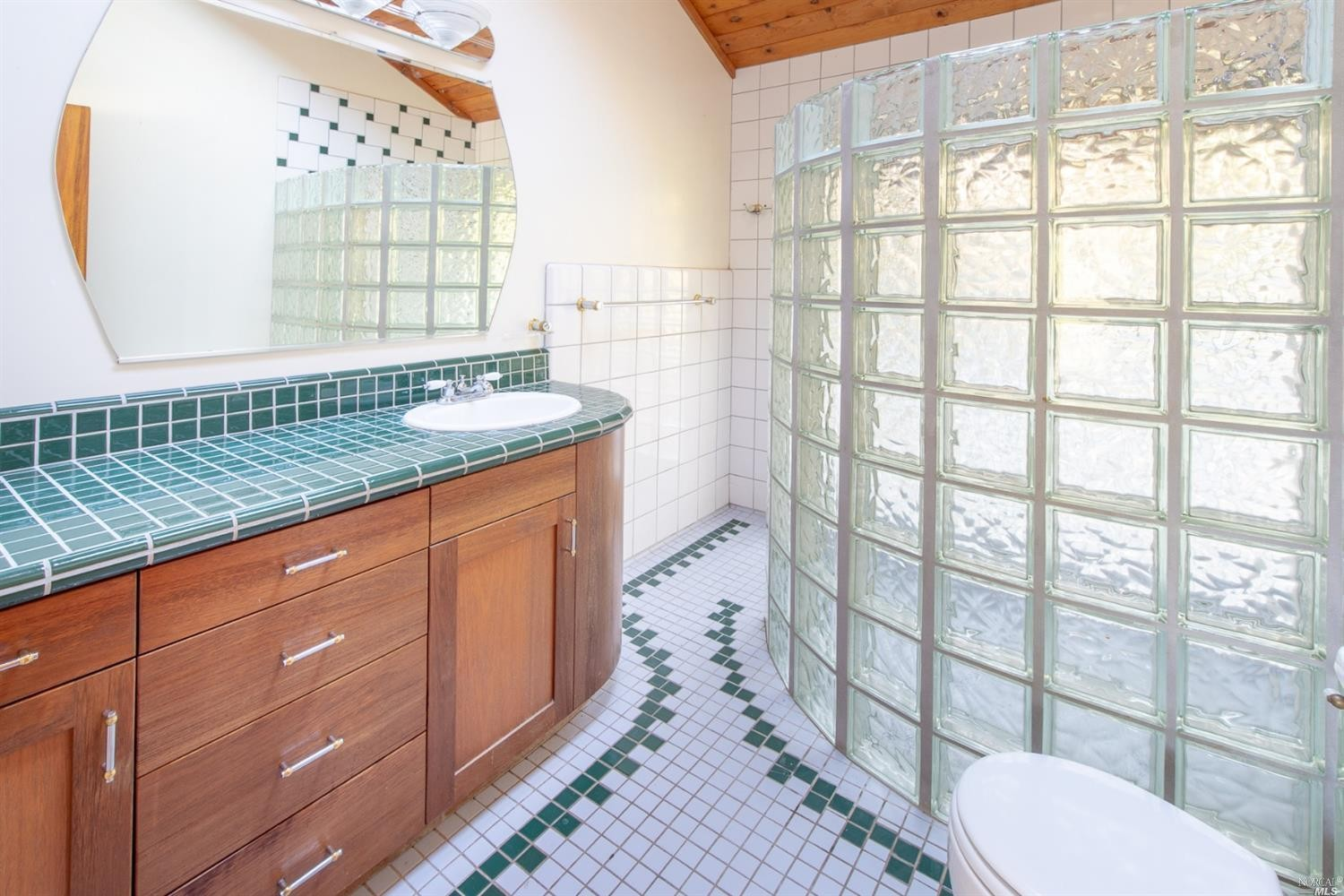 beautiful tile in a bathroom in the family home for sale, Philo, CA