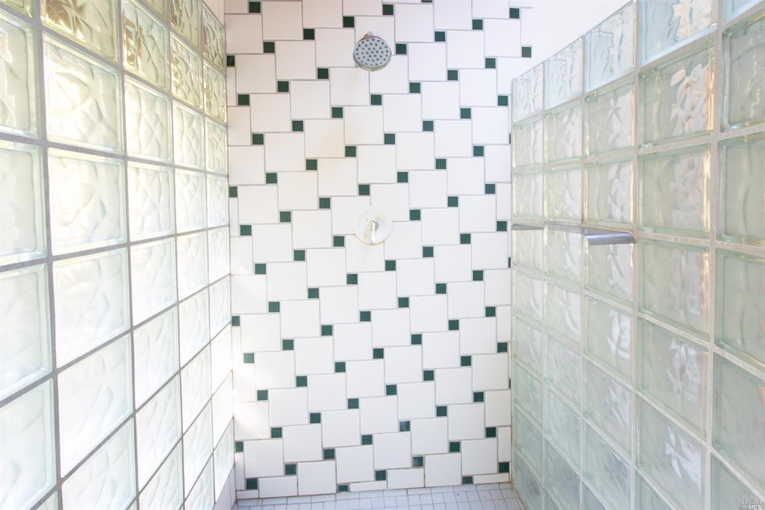 glass brick shower in the family home for sale, Philo, CA