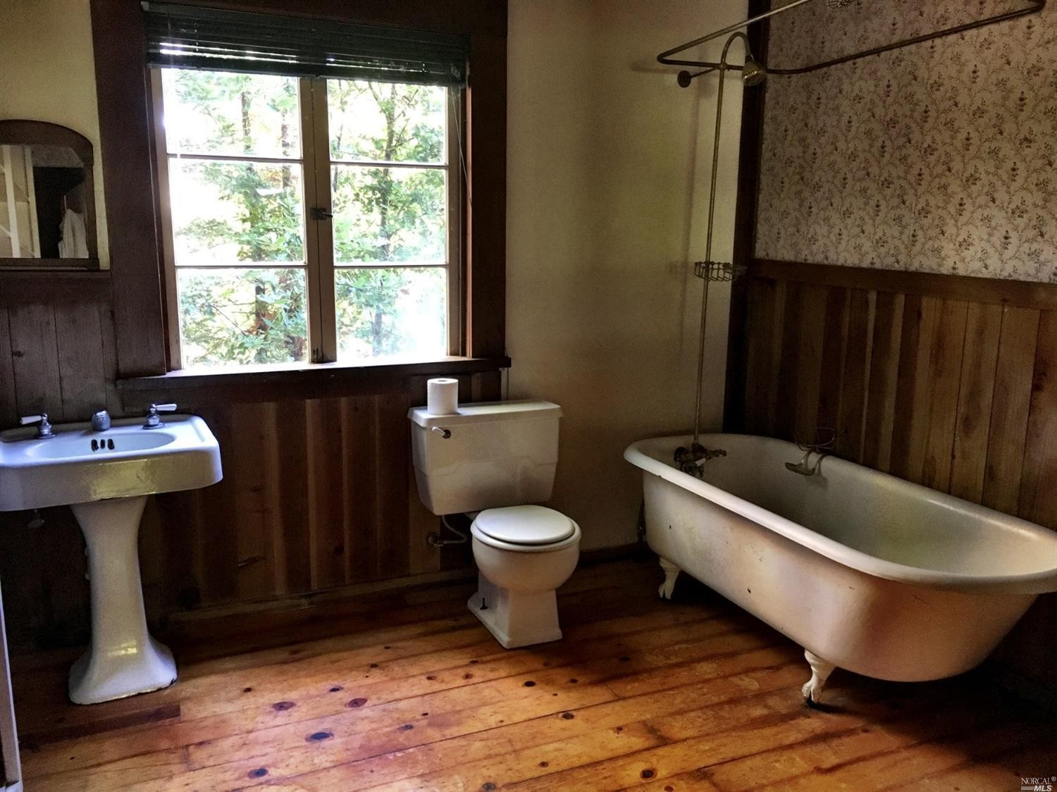 rustic bathroom in a family home for sale, Philo, CA