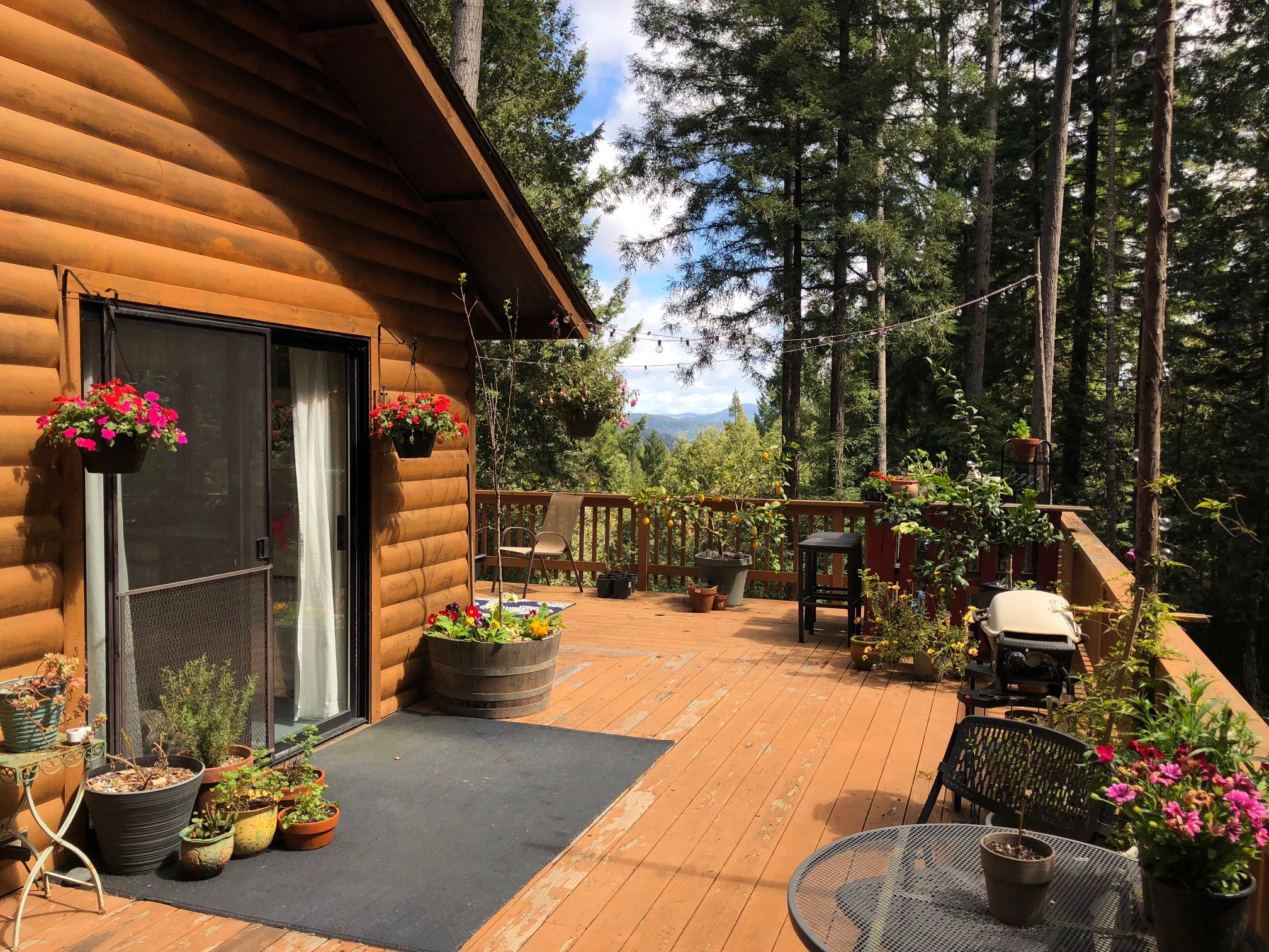 Deck and views from a cabin for sale in Philo, CA
