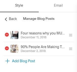 Squarespace Campaign allows quick insertion of auto-linked Blog items.