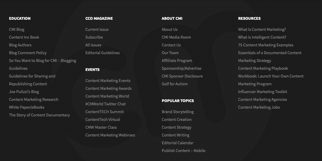 A sneak peak into CMI's extensive footer navigation of all the resources you can find!