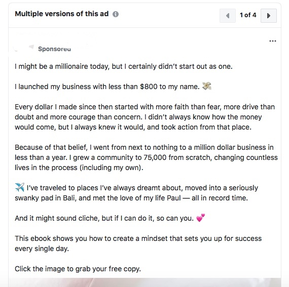 "One of the ""abundance-guru""'s copy that popped up on my social media. I have kindly (and with legal concern) covered up the name and business running this promotion :)"