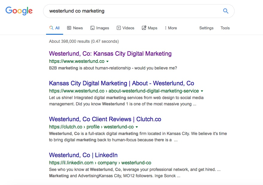 """Google SERP when searching """"Westerlund co marketing""""."""