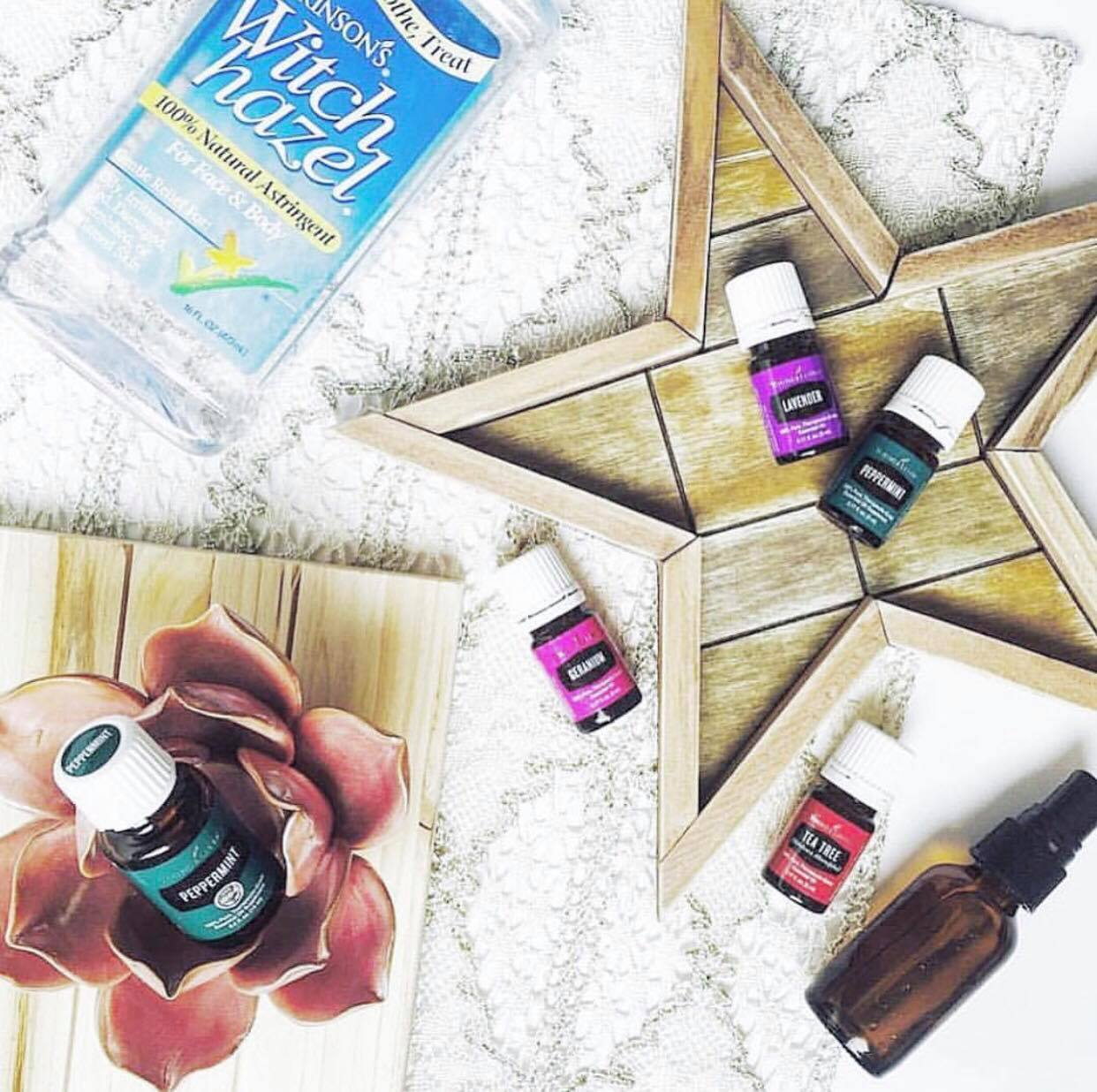 CLEAN & HEALTHY HEAD SPRAY     2 oz glass spray bottle  5 drops Peppermint Oil  5 drops Geranium Oil  5 drops Lavender oil  5 drops Tea Tree oil  dash of Witch Hazel  Fill with Water   Tip: The witch hazel helps the oils to mix in with the water instead of them laying on top.
