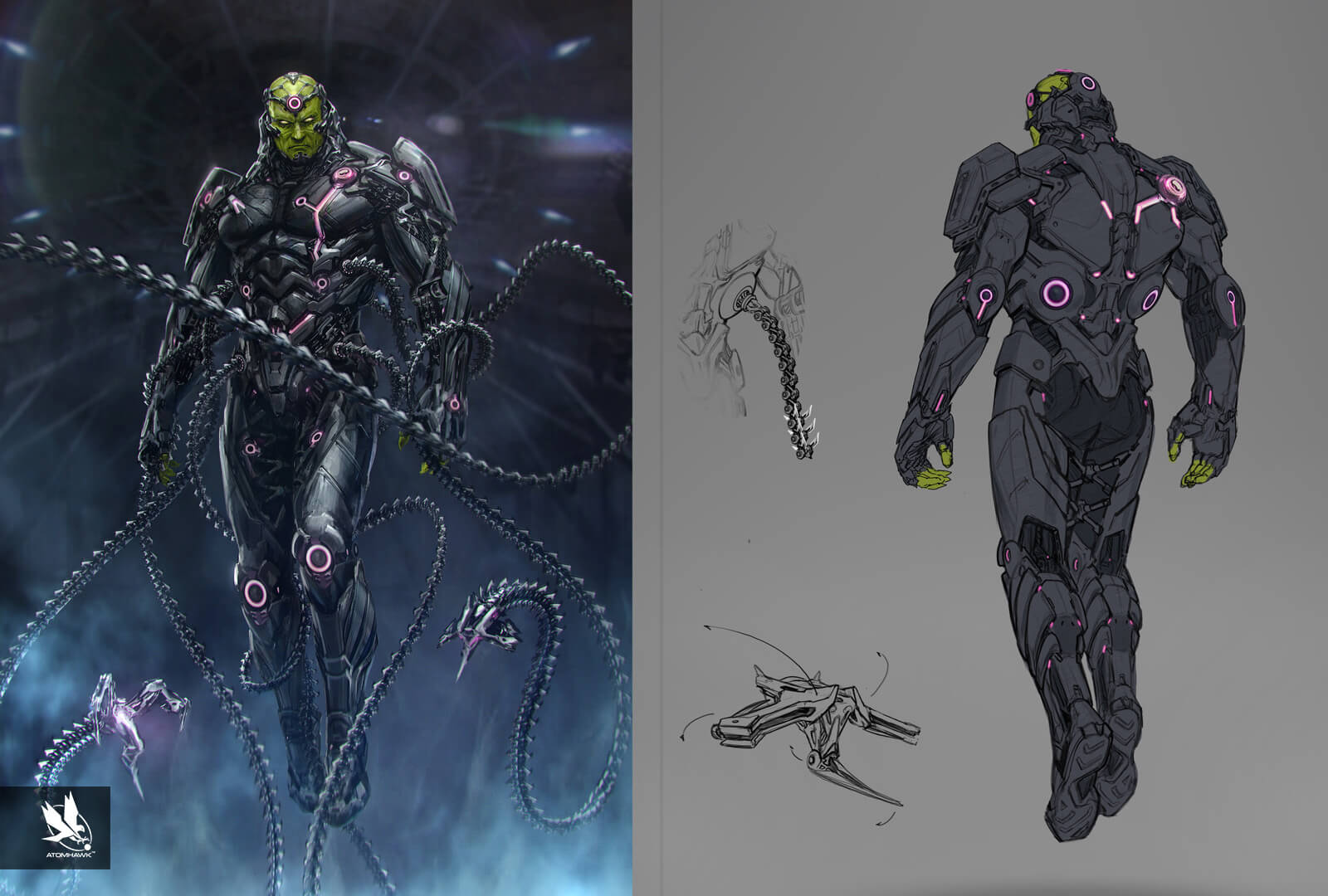 Here is some Character Art we did for Warner Brothers NetherRealm Studio on Injustice2 - Braniac