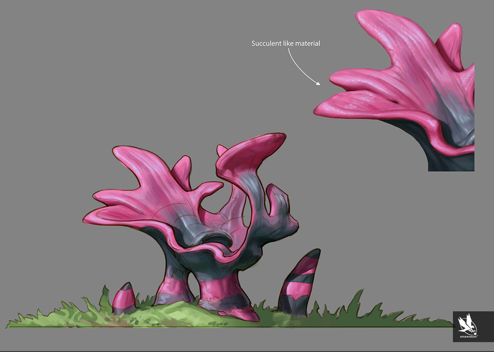 Environment Concept Art for the Unity 3D Concept art work completed by Atomhawk - Scrub Plant Concept 2