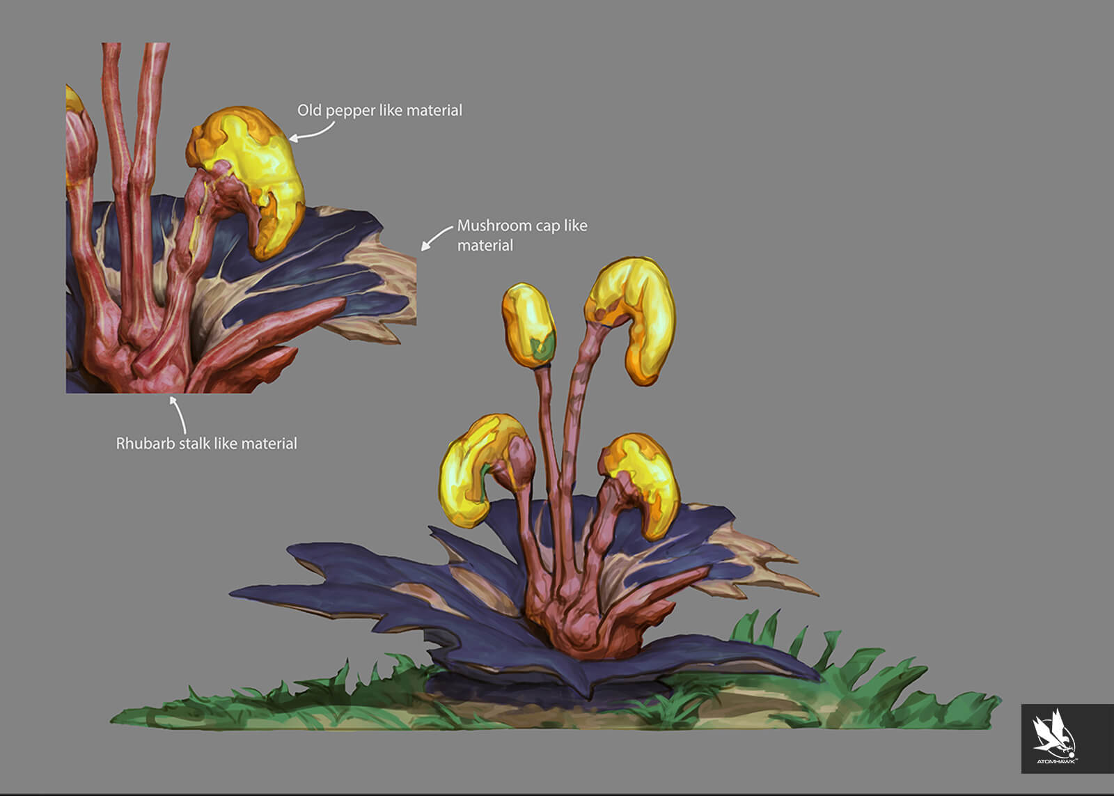 Environment Concept Art for the Unity 3D Concept art work completed by Atomhawk - Scrub Plant Concept 1