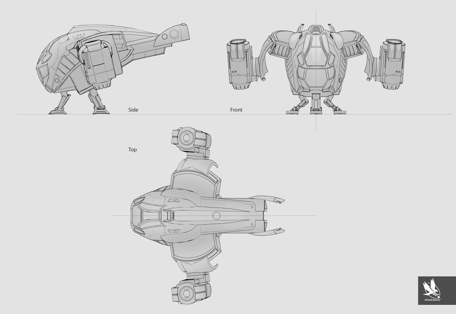 Dropship Orthographic - Concept Art for Unity 3D Game Kit