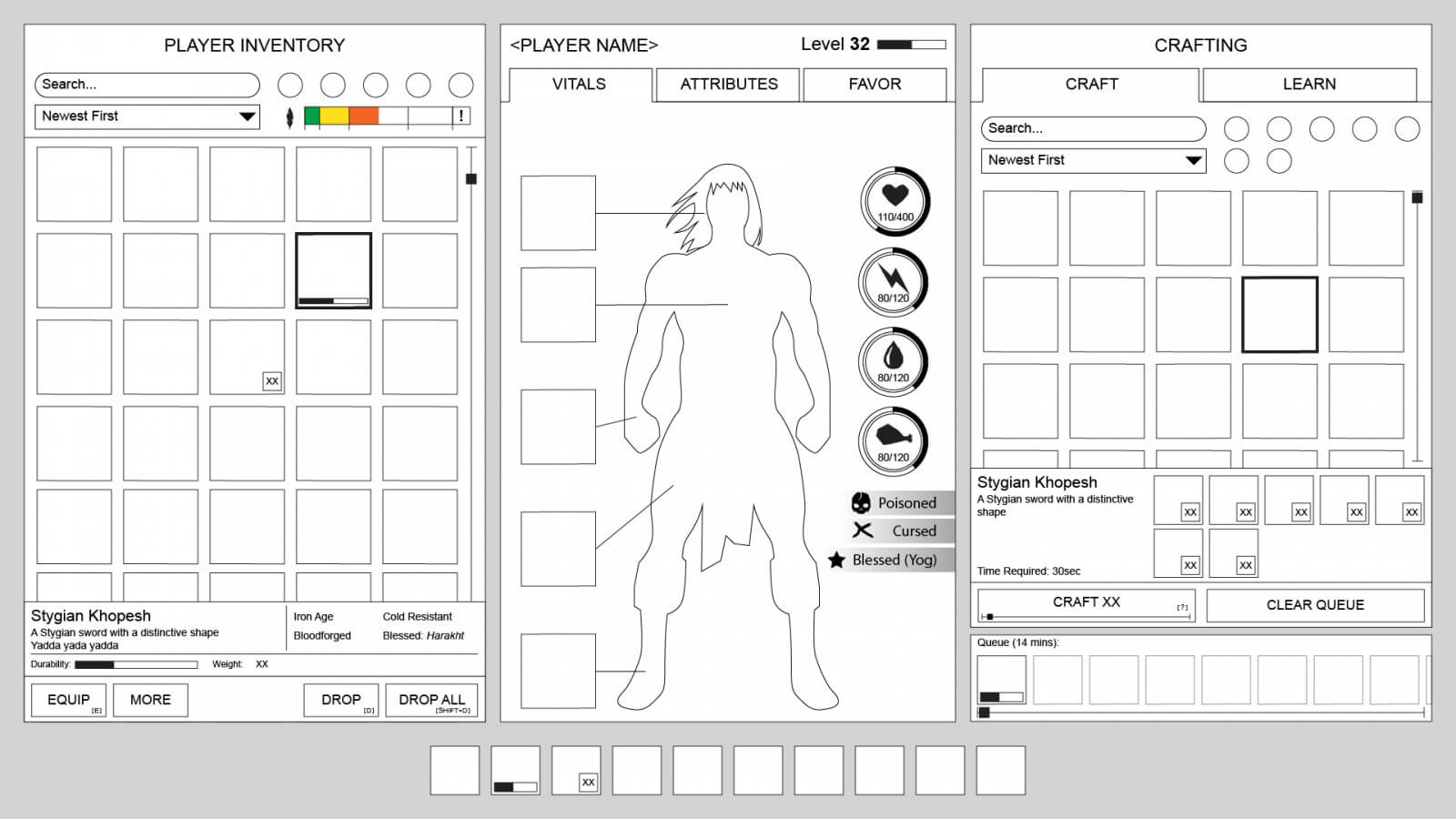 Conan Exiles - UI Design - Wireframe design - Character information