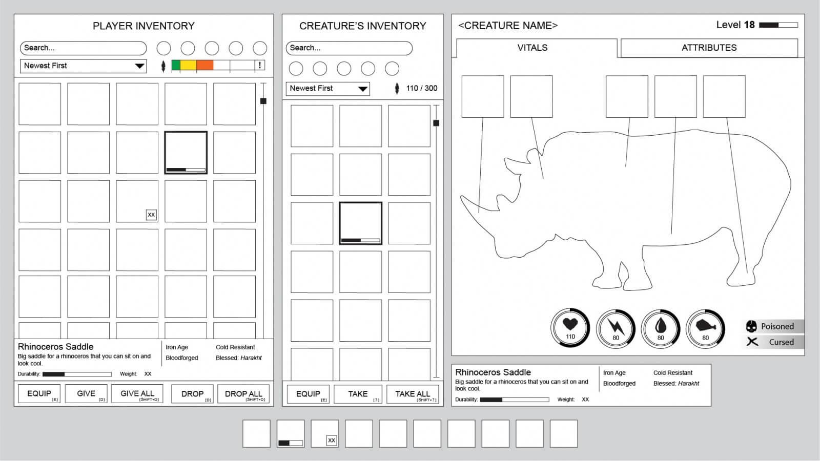 Conan Exiles - UI Design - Wireframe design - creature information