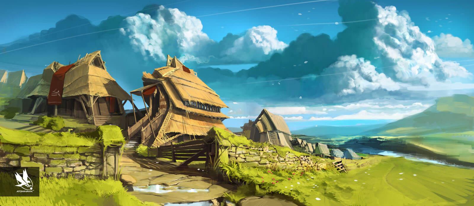 Atomhawk Village Environment Design for The Realm