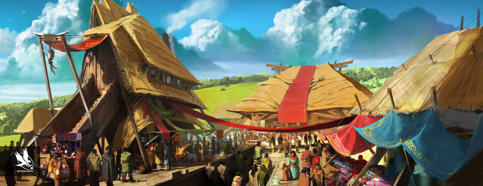 Atomhawk Village Concept Art for The Realm