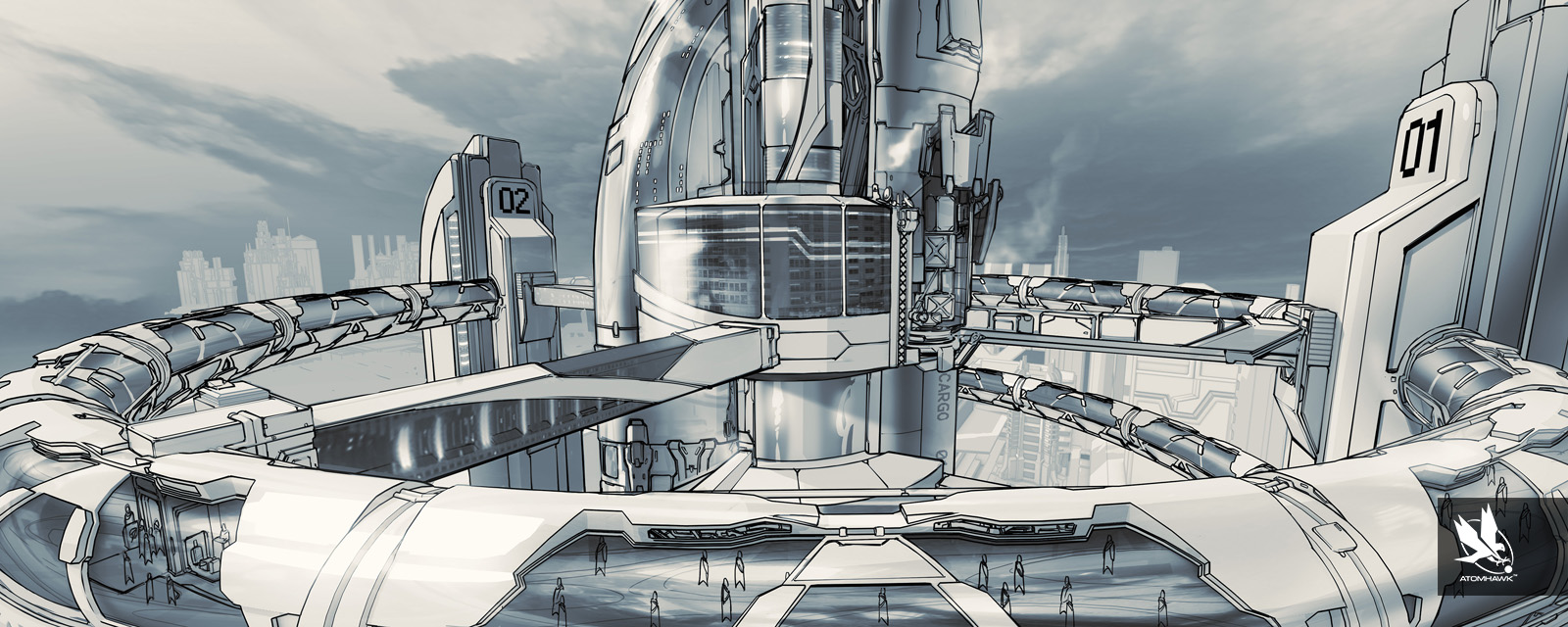Atomhawk Line Art Terminal Sketch for Sony and Housemarque's Matterfall