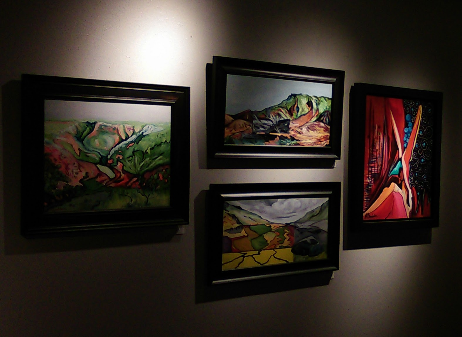 Oil paintings on display at Foundations Gallery, Claremore, OK