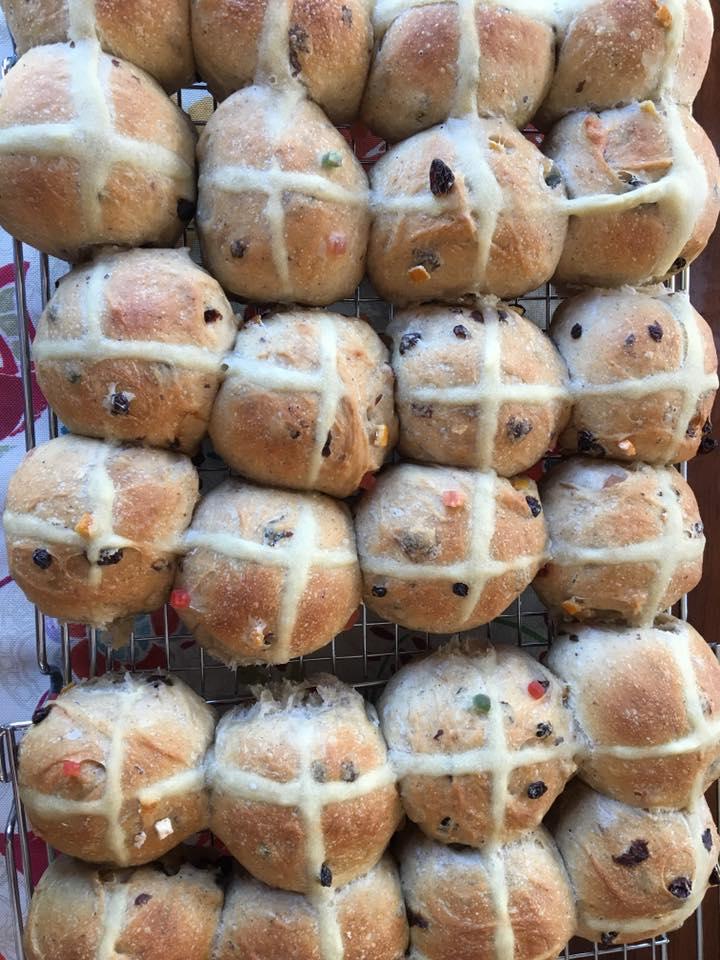 Easter hot cross buns, sourdough of course.