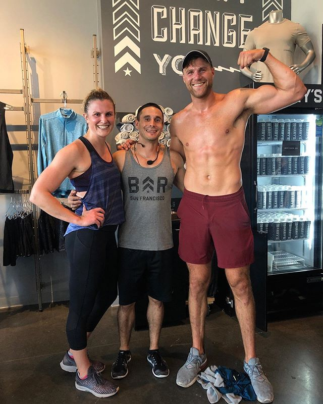 Friday fit day done right with my sister @jflaherty22 aka @flaherty.fit lead by the grand master himself @vidalcarlinfitness. And yes, a shirtless photo was necessary after class, I'll call myself out on that one . . #fitfriday #barrysbootcamp #siblings