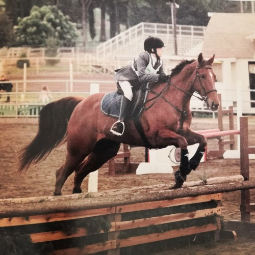 Risky and I having fun in the arena (I couldn't find a picture of us on the trail!).