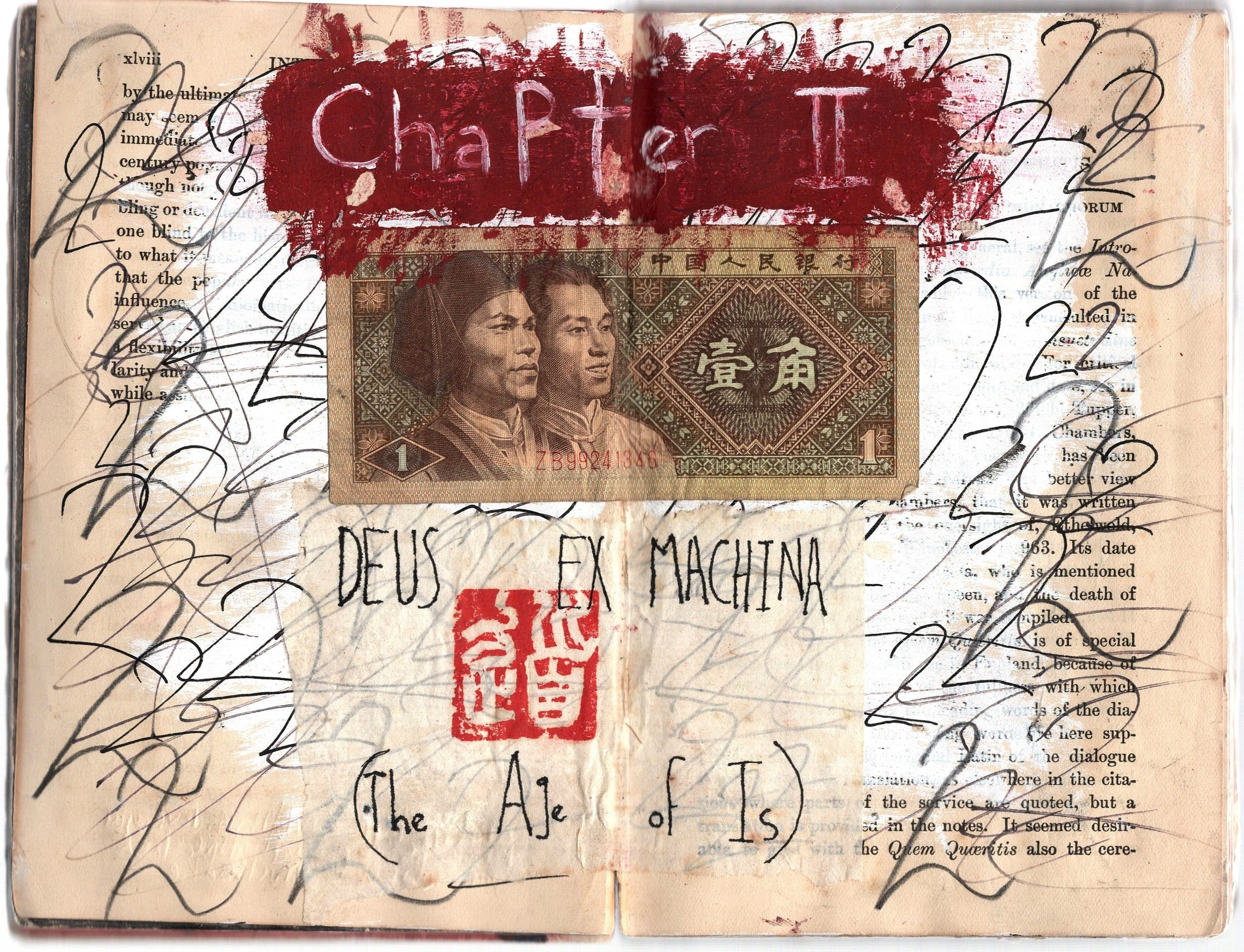 Gelareh Khoie, The Big Book of Rain, Collage, Ink, Graphite, Currency, and Chinese Stamp inside vintage book of morality plays.