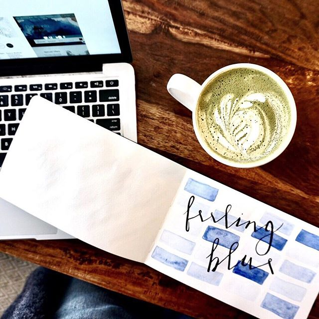 Take action to turn your mood around🌦Channel your dreams into doing 👊 A little caffeine for portfolio work @robynelisadesigns. Matcha and vibes. #prototyping #watercolors #calligraphy #mood