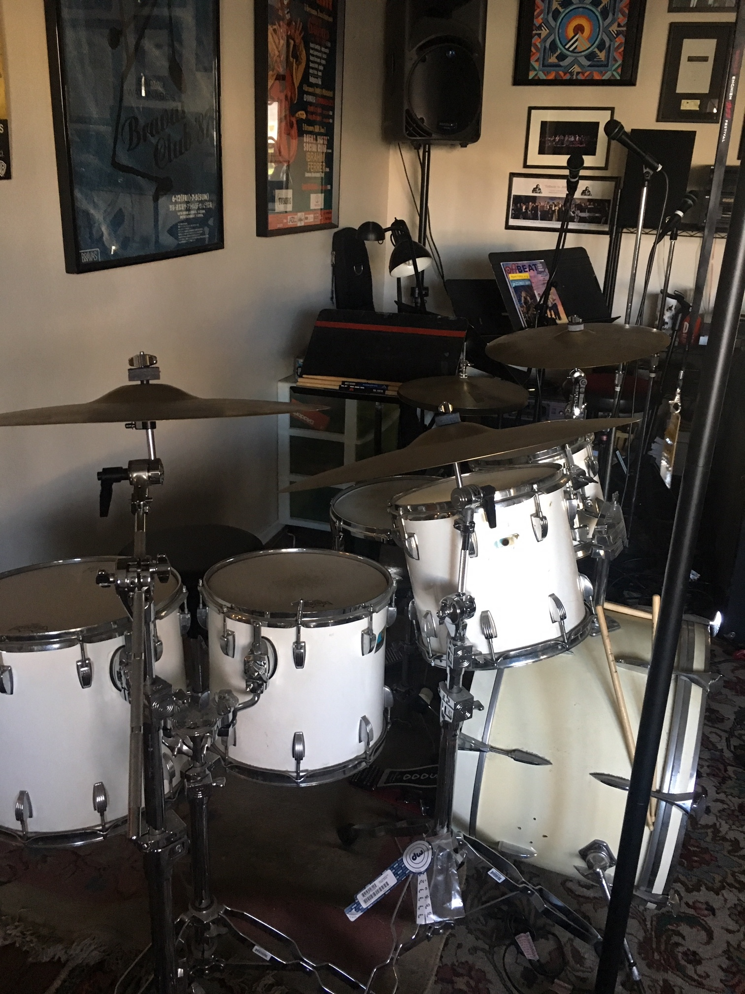 Carlos Vega's drum kit w cymbals courtesy Simon Phillips and snare courtesy Steve Ferrone.