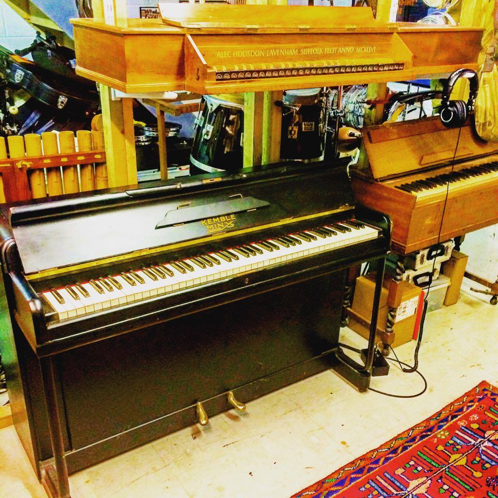 Every studio needs a real piano. I love a 1950's upright piano. Above the piano is my 50's virginal harpsichord that I used for the main riff on my song Kiss The Sky.