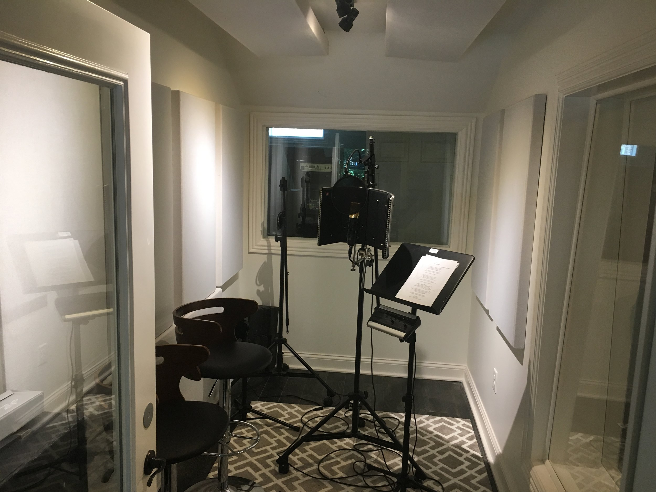 The vocal booth  – where so many great singers have laid down some amazing performances. Nice and comfy.