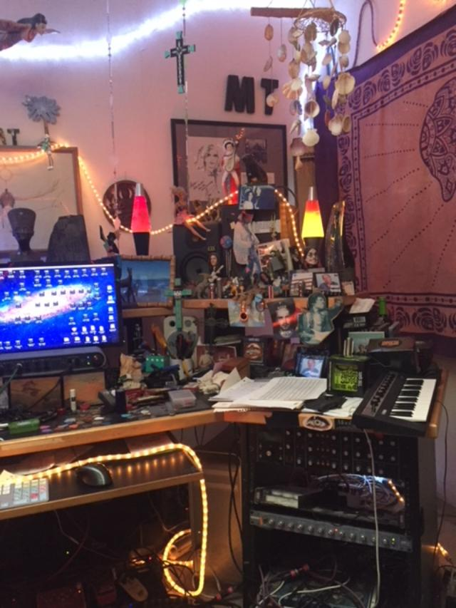 My equipment is basic, but it's everything I need at home. For more complex sessions, I'll go to dedicated studios or even other home studios for larger session work, or to rehearse for tours.