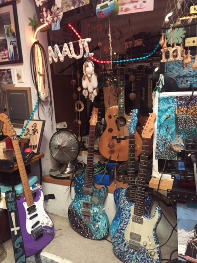 """I mentioned that """"Maui"""" vibe? It's true. Oh…check out my """"blue"""" guitars – hand painted."""