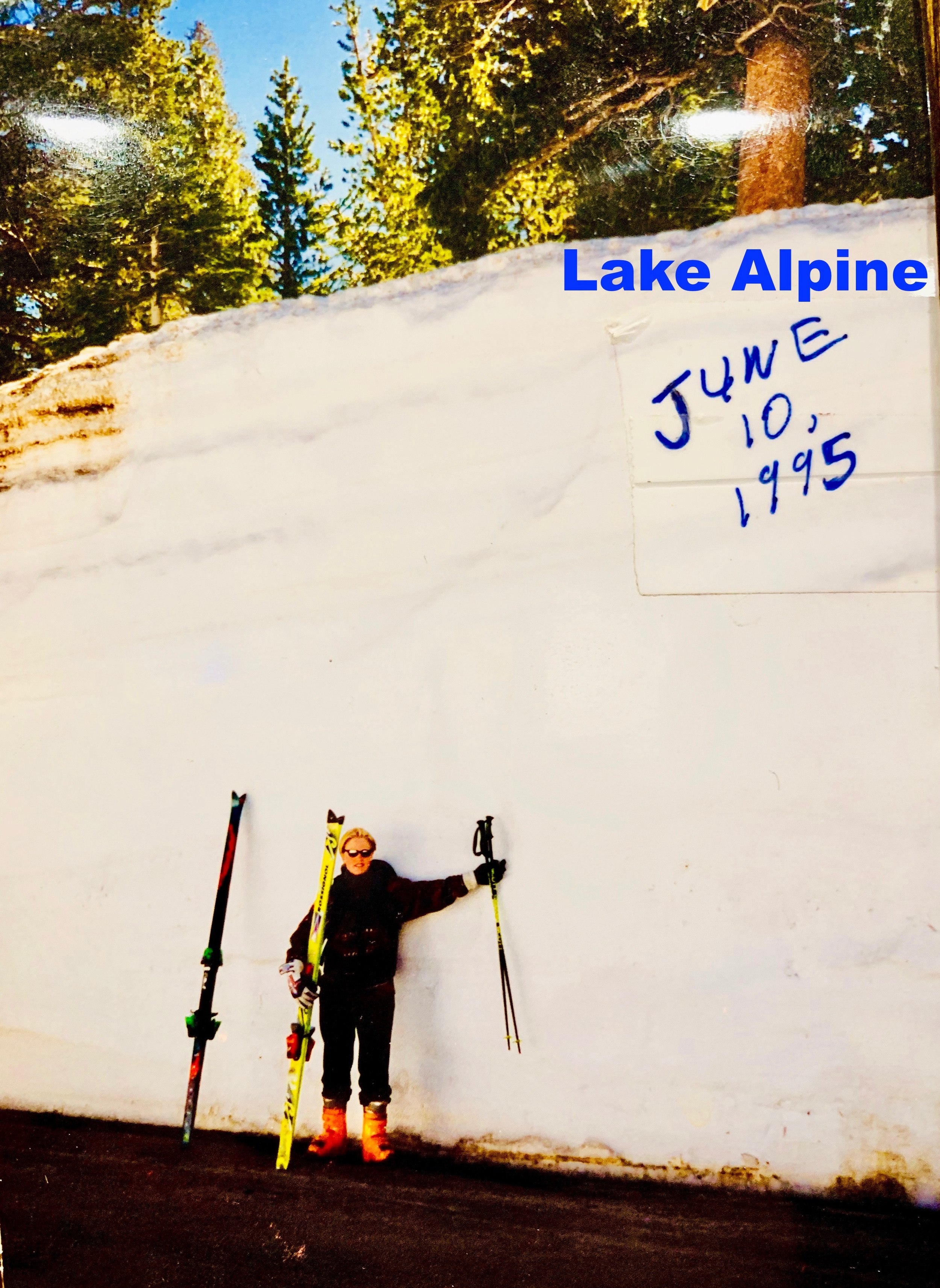 Lake Alpine, Ca - This picture was taken on June 10th 1995, on the East end of Alpine Lake near the road closure. On this day, we had hiked Inspiration Point above Lake Alpine and skied it.Mountain peeks in the Ebbetts Pass area provided snow skiing all the way through September of that year.Bear Valley Ski Resort had closed for the season in April with 20 feet of snow still on the ground. Obviously, we weren't done skiing :-)