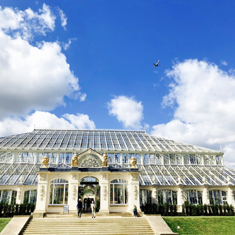 A plane flying over Kew Gardens — loudly