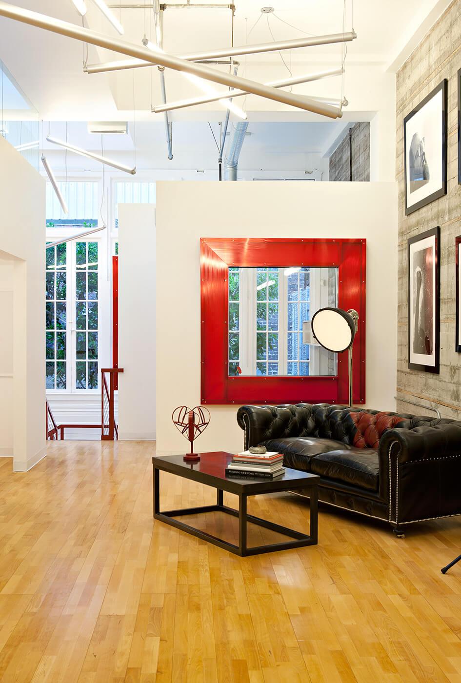 Loft Living Red White Modern Jennifer Gustafson SF Bay Designer
