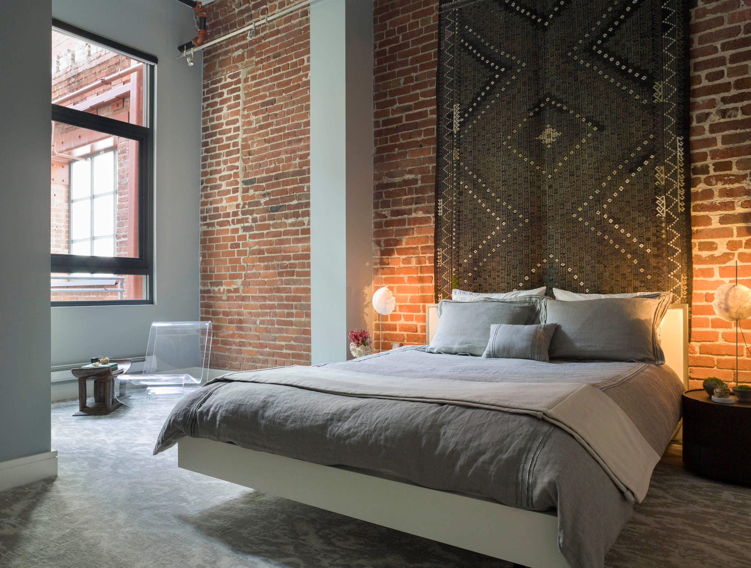 Bedroom Gray White Modern Loft Jennifer Gustafson SF Bay Designer