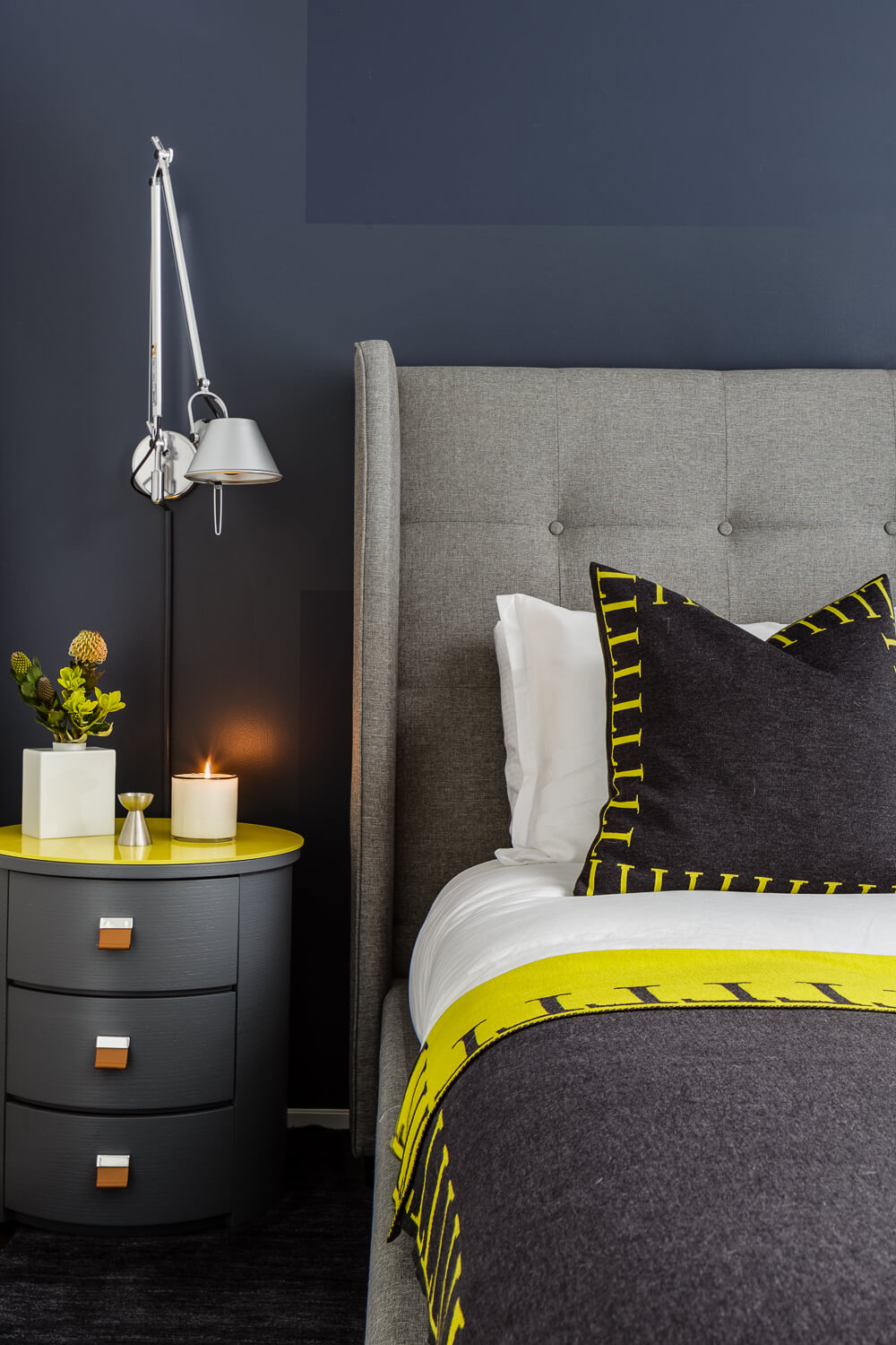 Bedroom Navy Blue Yellow Modern Jennifer Gustafson SF Bay Designer