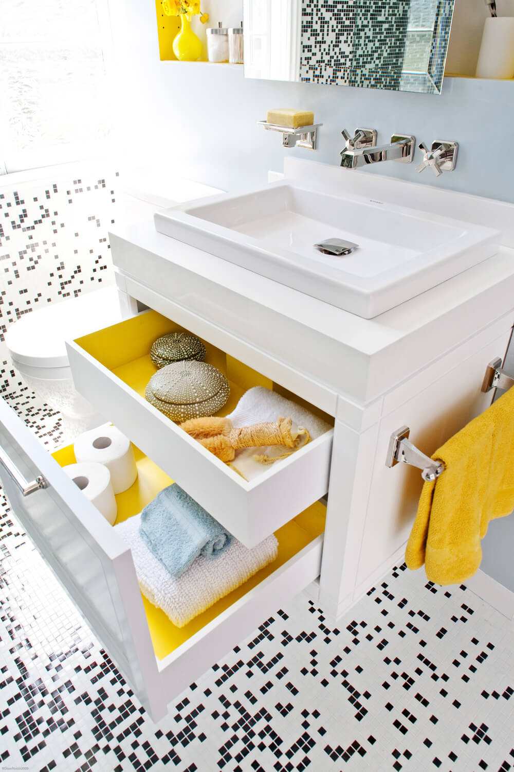 Bathroom Black White Yellow Modern Jennifer Gustafson SF Bay Designer