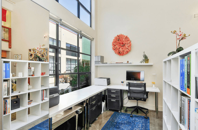 Home Office White Modern Loft Jennifer Gustafson SF Bay Designer