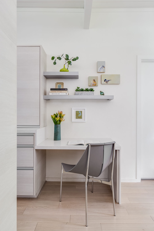 Home Office White Gray Modern Jennifer Gustafson SF Bay Designer