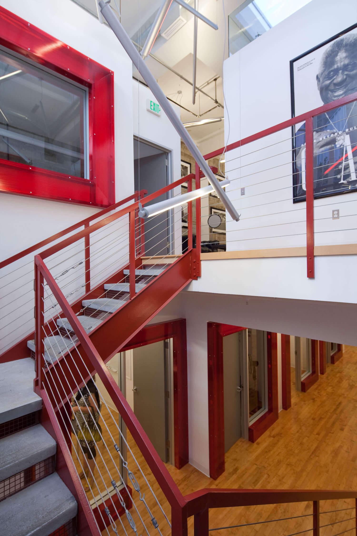 Office White Red Industrial Modern Jennifer Gustafson SF Bay Designer