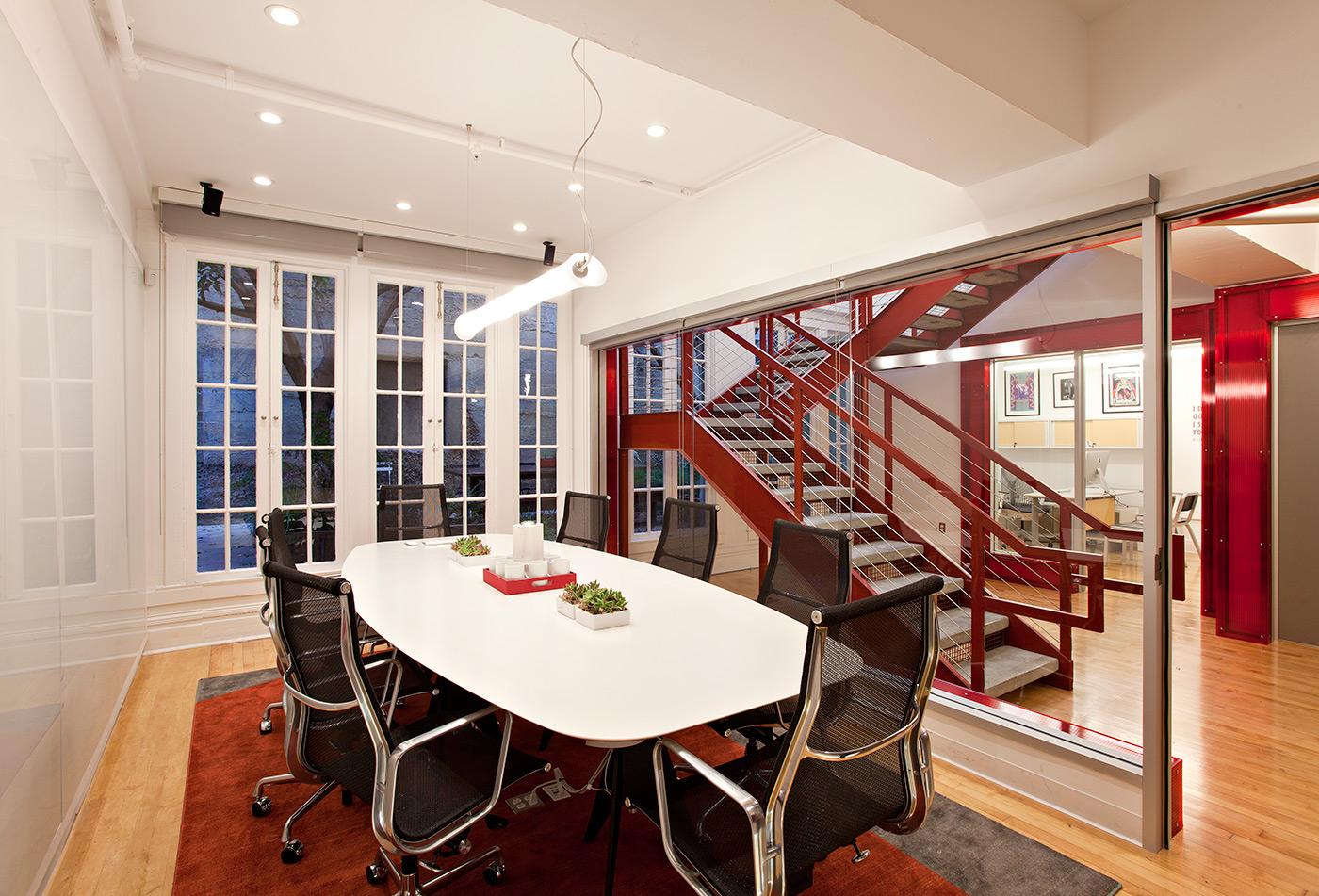 Office White Red Modern Jennifer Gustafson SF Bay Designer
