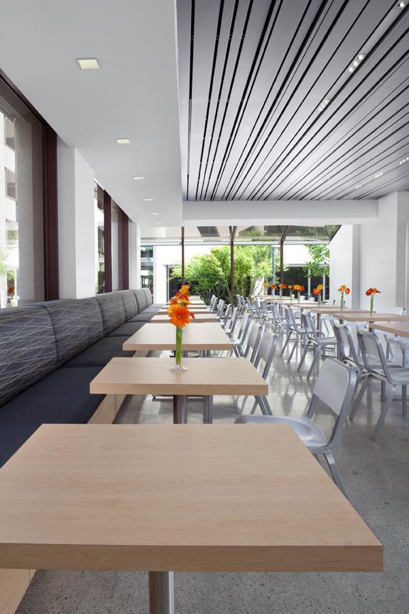 Corporate Cafeteria White Modern Jennifer Gustafson SF Bay Designer
