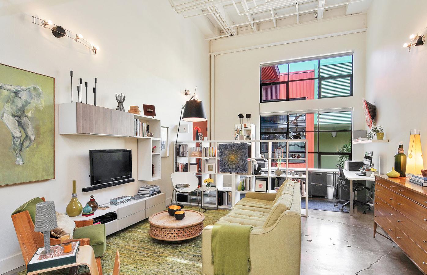 Living Room Modern Loft Green Jennifer Gustafson SF Bay Designer