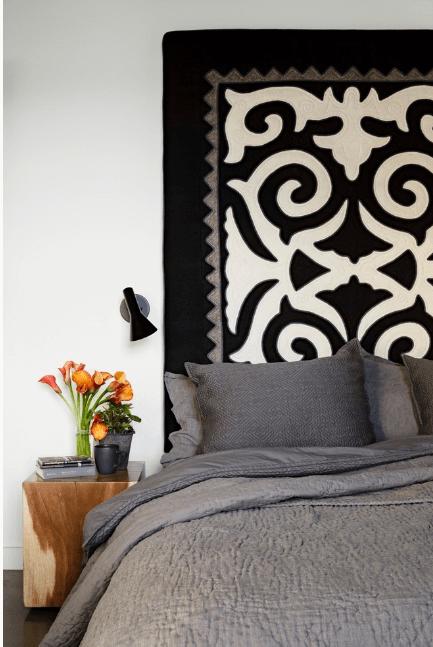 Bedroom Black White Cutout Quilt