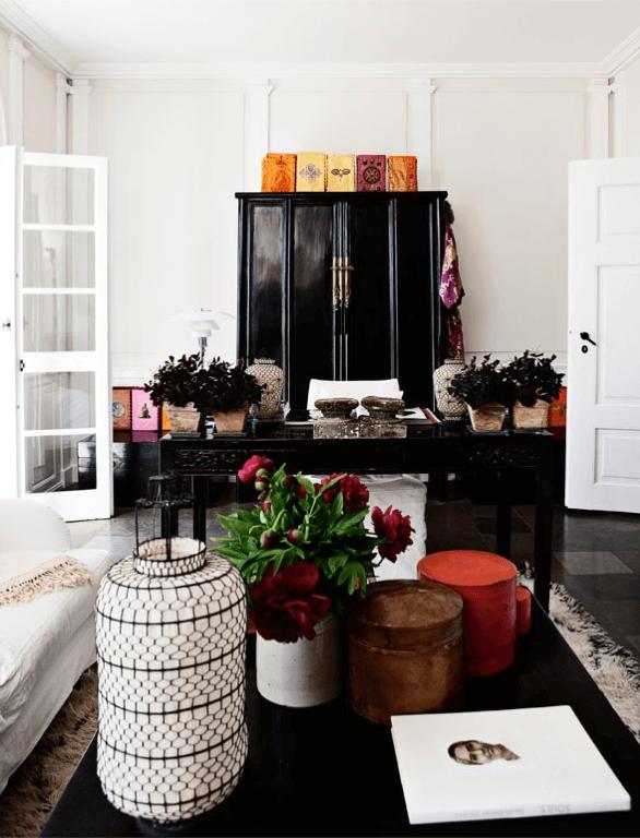 Home Office Black White Red Asian Inspired