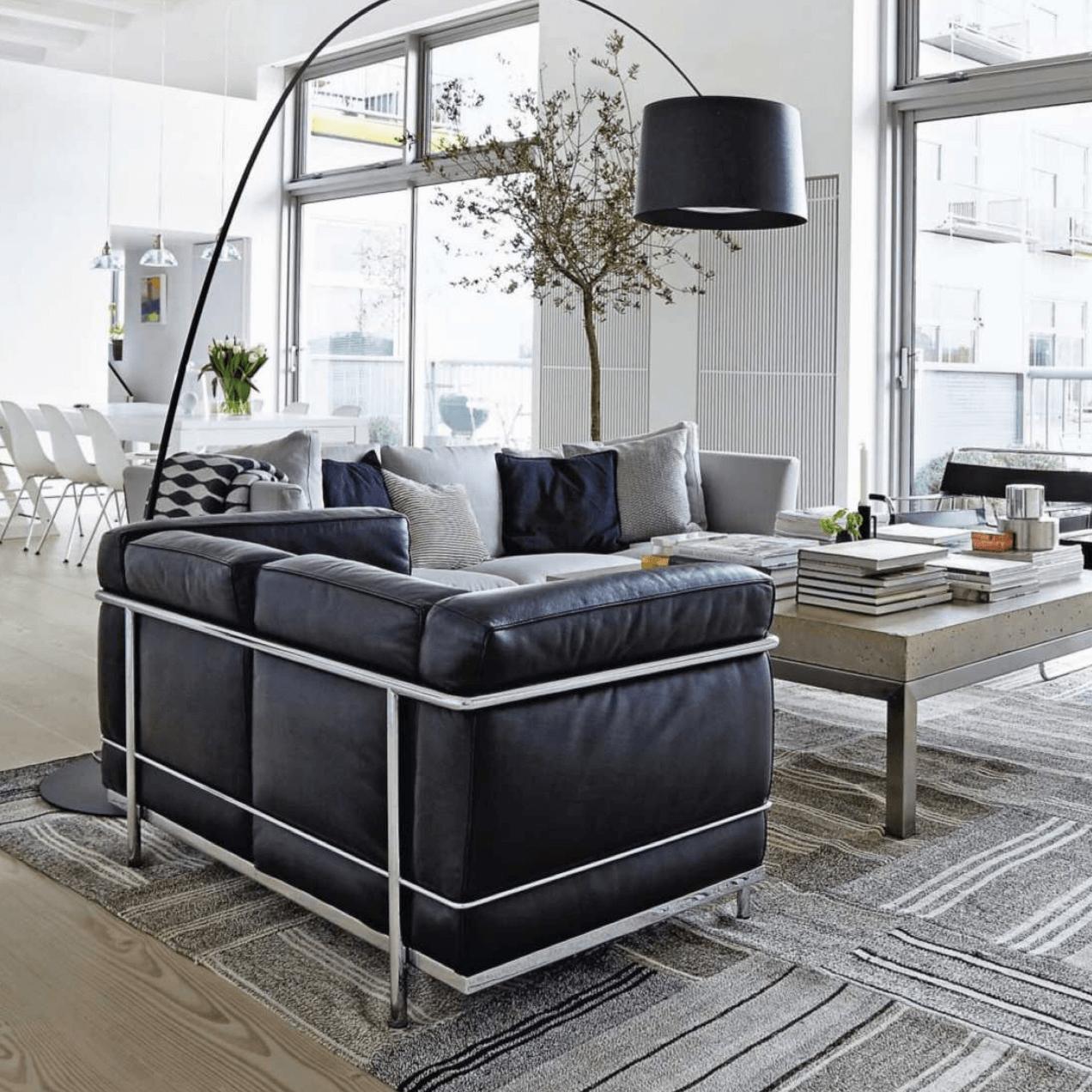 Living Room Black White Neutral Carpet Midcentury Modern