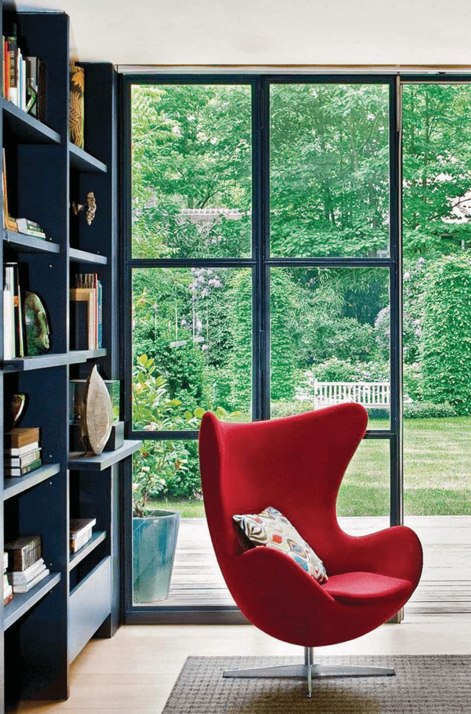 Living Room Black Shelves Windows Red Chair Living Etc.