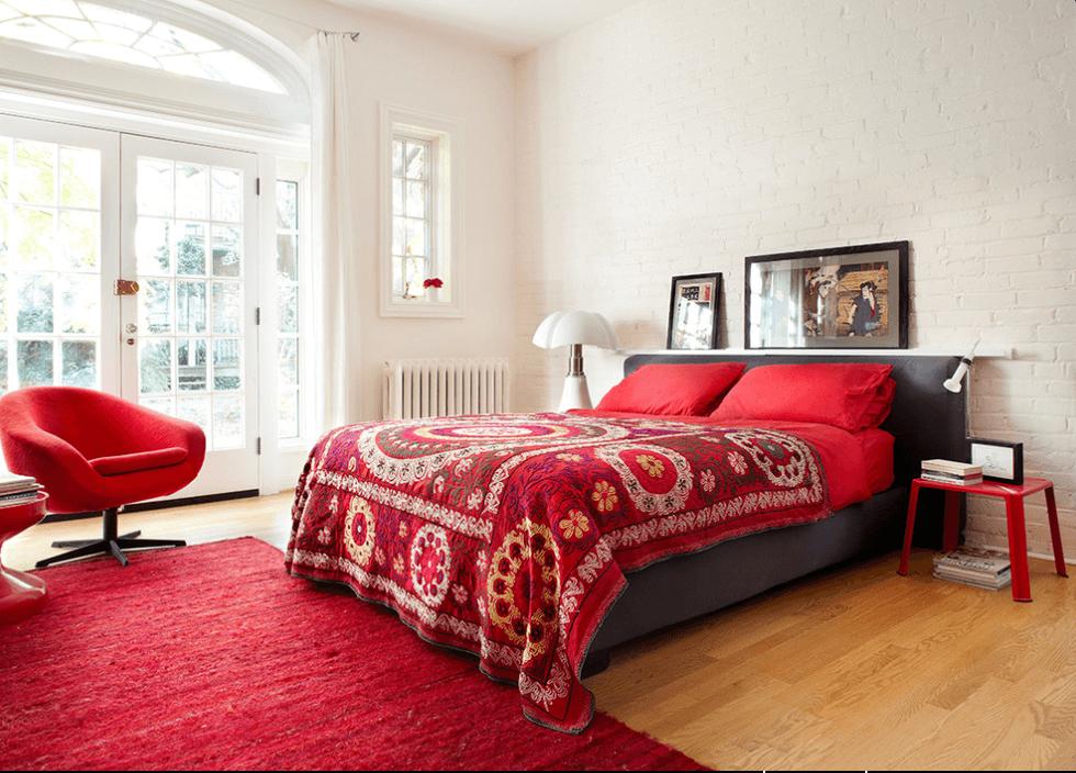 Bedroom White Red Grey Suzanni Midcentury