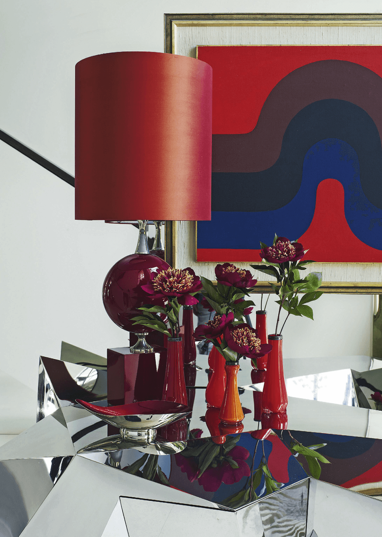 Living Room Red Art Midcentury Vogue Living